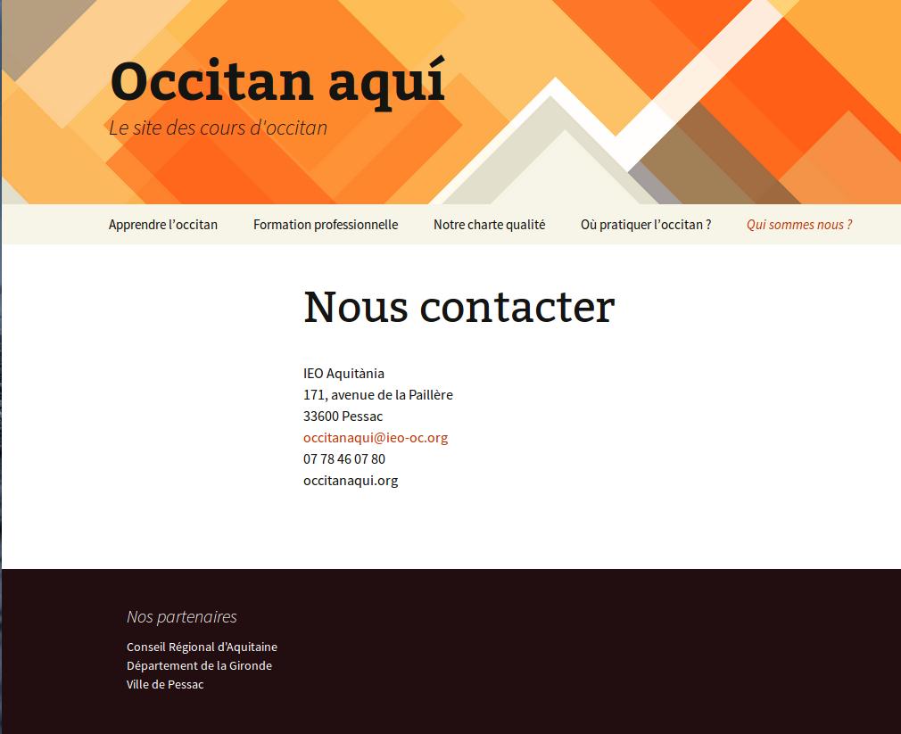 Site des cours d'occitan en Gironde