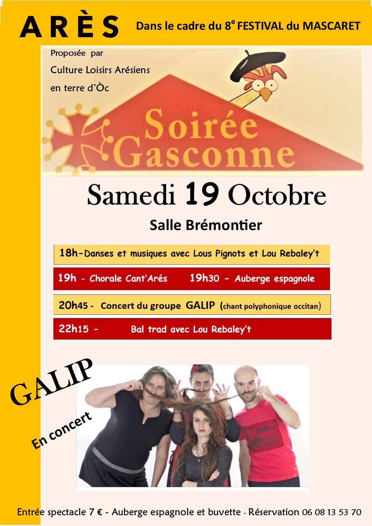 Soirée gasconne et concert de GALIP à Arès
