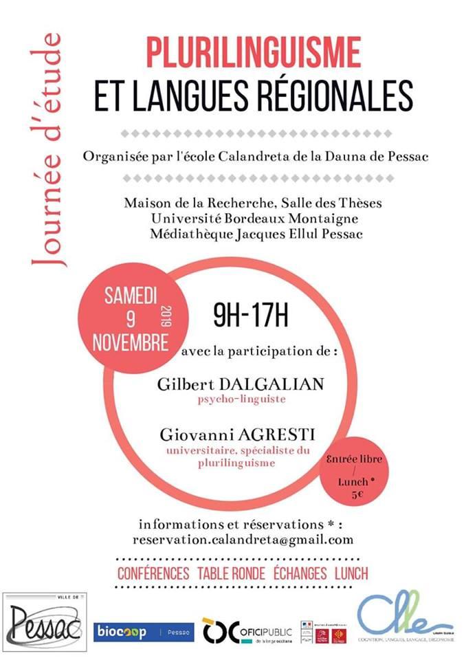 9 nov université Montaigne Journée d'étude: Plurilinguisme et langues régionales