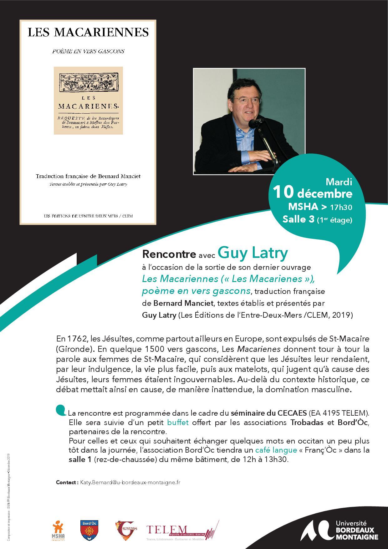 Conférence de Guy Latry sur les Macariennes (université Montaigne)